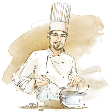 Happy chef cooking with pan. Hand drawn vector illustration on artistic watercolor background.