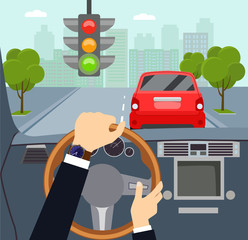 Man hands of a driver on steering wheel of a car. Traffic light. Vector flat style illustration
