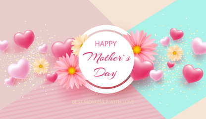 Mother's Day greeting card with square frame and paper cut flowers on colorful modern geometric background. Vector illustration.