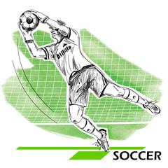 Goalkeeper, soccer, football player. Vector illustration isolated on white.