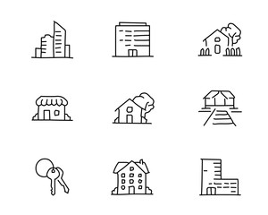 building hand drawn icon design illustration, line style icon, designed for app and web
