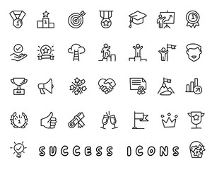 success hand drawn icon design illustration, line style icon, designed for app and web