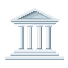 Greek temple illustration. Bank icon. Flat style design. Vector illustration isolated on white background. Web site page and mobile app