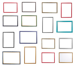 Big set of frame for painting or picture on white background.