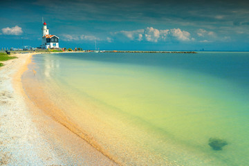 Fantastic beach and lighthouse in Marken, Netherlands, Europe