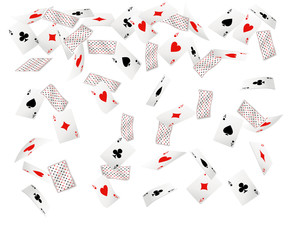 Set of ace playing cards. Falling playing cards. Back side design. Vector illustration isolated on white background. Web site page and mobile app design