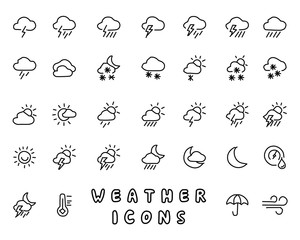 weather hand drawn icon design illustration, line style icon, designed for app and web