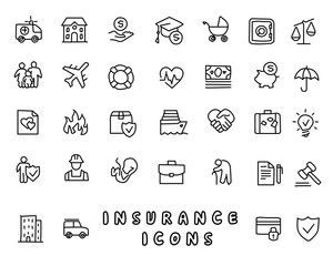 insurance hand drawn icon design illustration, line style icon, designed for app and web