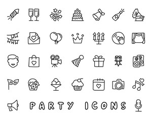 party hand drawn icon design illustration, line style icon, designed for app and web