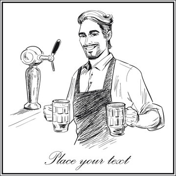 Smiling bartender holding beer.  Hand drawn vector illustration isolated on white background.