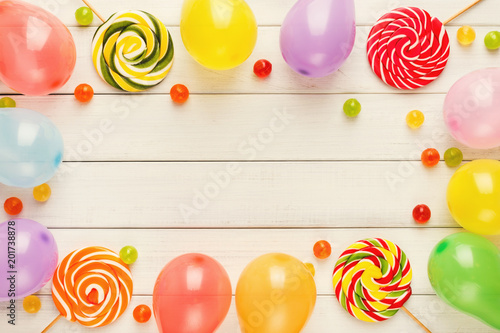 Colorful Balloons On White Rustic Wood Birthday Background Top