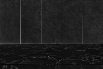 Blank blank marble table top on dark wall for montage display product