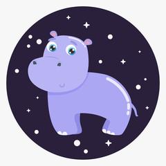 Cute hippo vector illustration. Flat design.