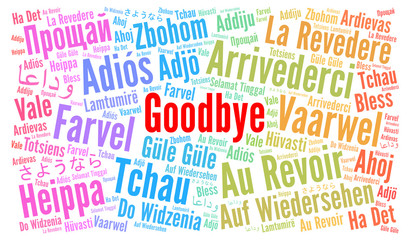 Goodbye in different languages word cloud