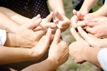 Symbol excellent  Hand thumbs of people corporate Meeting Teamwork Concept.
