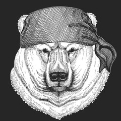 Big white polar bear Cool pirate, seaman, seawolf, sailor, biker animal for tattoo, t-shirt, emblem, badge, logo, patch. Image with motorcycle bandana