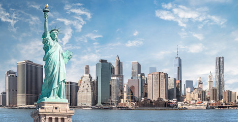 The statue of Liberty, Landmarks of New York City with Manhattan skyscraper background