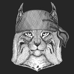 Wild cat Lynx Bobcat Trot Cool pirate, seaman, seawolf, sailor, biker animal for tattoo, t-shirt, emblem, badge, logo, patch. Image with motorcycle bandana