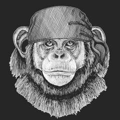 Chimpanzee Monkey Cool pirate, seaman, seawolf, sailor, biker animal for tattoo, t-shirt, emblem, badge, logo, patch. Image with motorcycle bandana