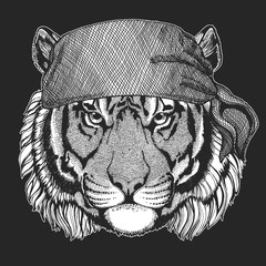 Wild tiger Cool pirate, seaman, seawolf, sailor, biker animal for tattoo, t-shirt, emblem, badge, logo, patch. Image with motorcycle bandana