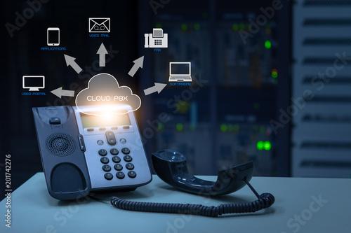 IP Telephony cloud pbx concept, telephone device with illustration
