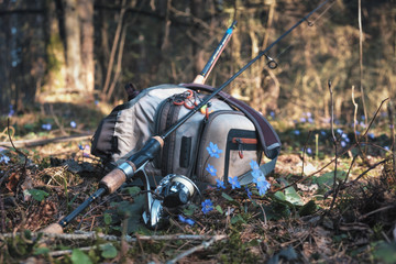 Fishing tackle on the forest background.