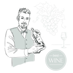 Sommelier, waiter, man holding bottle of wine, tasting wine