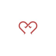 Letter M logo icon design template elements with heart