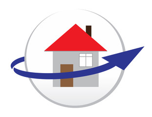 House circle icon with blue arrow