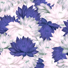 Seamless pattern with purple and pink water lilies