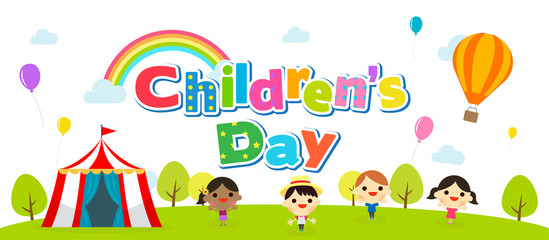 Children's day banner vector illustration. Kids playing at the park.
