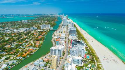 Aerial view city Miami Beach, South Beach, Florida, USA.