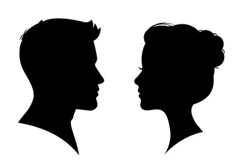 Man and woman silhouette face to face – vector Wall mural