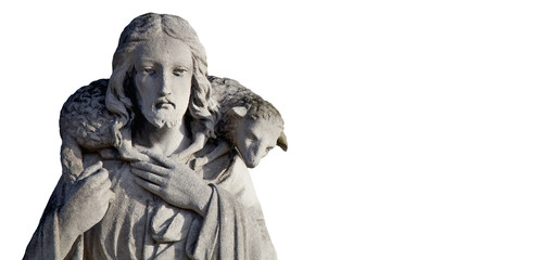 Ancient statue of Jesus Christ is the Good Shepherd with the lost sheep on his shoulders. Sculpture on white background.