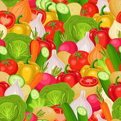 Vector seamless pattern with vegetables Colorful illustration.