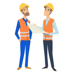 Two full length persons (architect or engineer and foreman or worker) wearing protective uniforms and hardhats, looking at blueprint, holding documents and folder.