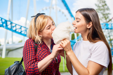 Two hungry girls biting heap of vanilla cotton-candy on summer weekend on background of amusements