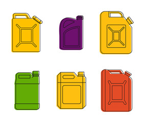Canister icon set. Color outline set of canister vector icons for web design isolated on white background