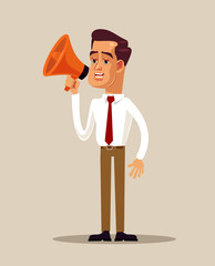 Office worker businessman character holding loud speaker megaphone and screaming. Activist demonstrator announce concept. Vector flat cartoon isolated illustration