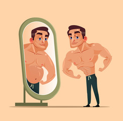 Handsome strong man character looking mirror and seeing themselves as fat person. Underestimate yourself and obsession pretend concept. Vector flat cartoon isolated illustration