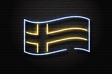 Vector realistic isolated neon sign of Sweden flag for decoration and covering on the wall background.