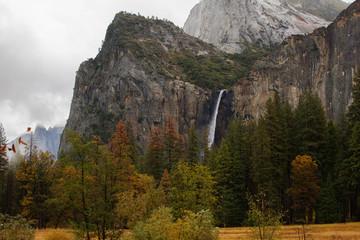 Spectacular views to the Yosemite waterfall in Yosemite National Park, California, USA