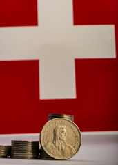 Swiss coin five francs.