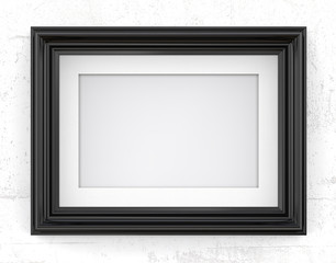 Black Picture Frame. 3D render of Vintage Black Frame with passe-partout on concrete wall. Blank for Copy Space.