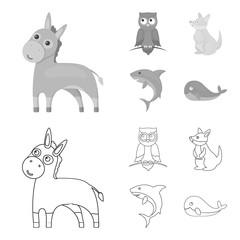 Donkey, owl, kangaroo, shark.Animal set collection icons in outline,monochrome style vector symbol stock illustration web.