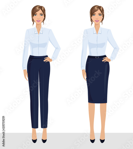 7651f03775ca Base wardrobe, feminine corporate dress code. Collection of full length  portraits of business woman. Vector illustration isolated on white.