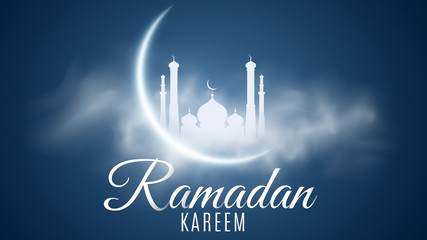 Ramadan Kareem background. Religion Holy Month. Caligraphy and lettering. Bright moon. Clouds. Temple with domes. Old Muslim city. Cover, banner for design. Vector illustration