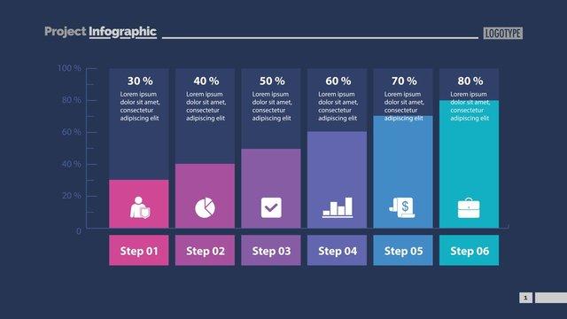 Six Columns Bar Chart Slide Template