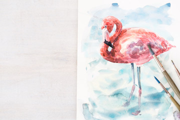 artwork. drawing of talented artist. painting of a pink flamingo