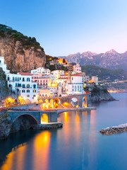 Printed roller blinds Mediterranean Europe Night view of Amalfi cityscape on coast line of mediterranean sea, Italy